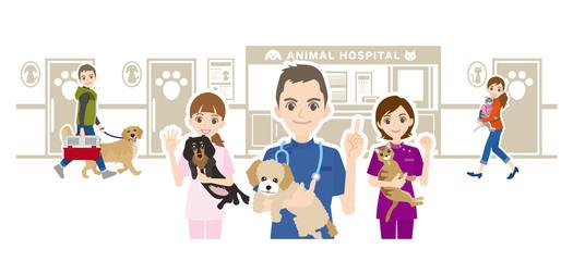 動物病院と獣医のイラスト