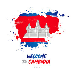 Welcome to Cambodia. Flag and map of the country