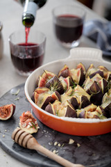 Roasted figs with blue cheese,honey and rosemary.