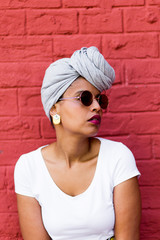 Portrait of stylish woman with turban