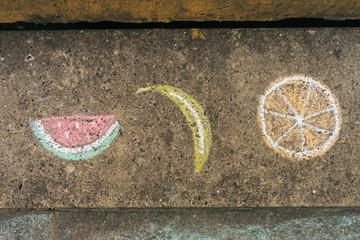 Watermelon, Banana and Orange.