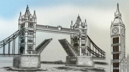 Illustration drawing paper tower of London bridge . 3D rendering.