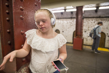 Young adult in the subway