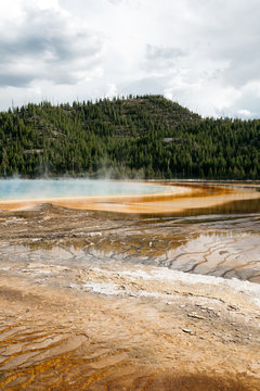 Geological textures of thermal pools in Yellowstone National Park USA