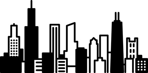 Simple icon illustration of the skyline of the city of Chicago, Illinois, USA in black and white.