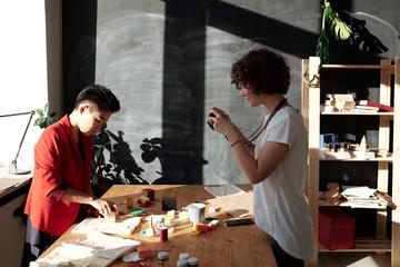 Photo shoot in printmaking studio