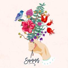 Hands and flowers. Vintage vector summer illustration