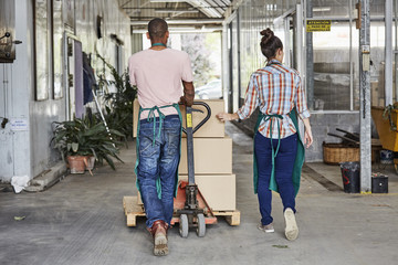 Workers Pushing Cardboard Boxes On Pallet Hand Truck At Greenhouse