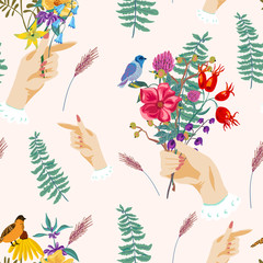 Hands and flowers. Vintage vector summer seamless pattern