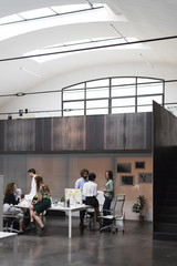 Businesspeople meeting in a modern space