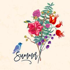 Bird and flowers. Vintage vector summer illustration,