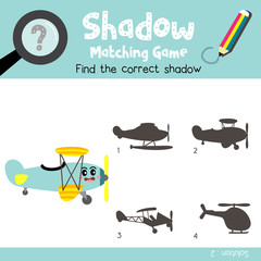 Shadow matching game of Biplane side view transportations for preschool kids activity worksheet colorful version. Vector Illustration.