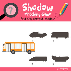 Shadow matching game of Bus side view transportations for preschool kids activity worksheet colorful version. Vector Illustration.