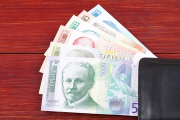 Money from Serbia in the black wallet