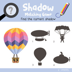 Shadow matching game of Hot Air Balloon side view transportations for preschool kids activity worksheet colorful version. Vector Illustration.