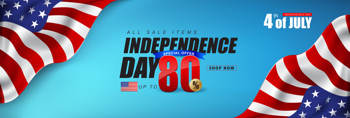 Independence day USA sale promotion advertising banner template american flag decor.4th of July celebration poster template.voucher discount.Vector illustration .