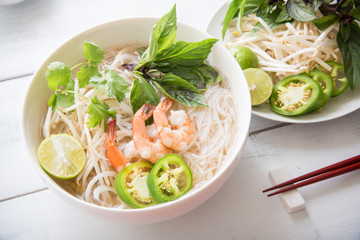 shrimp pho with summer roll