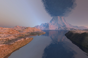 Volcano, a rocky landscape, reflections on water and black smoke in the sky.