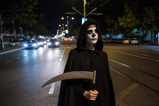 Portrait Of The Grim Reaper On The Street