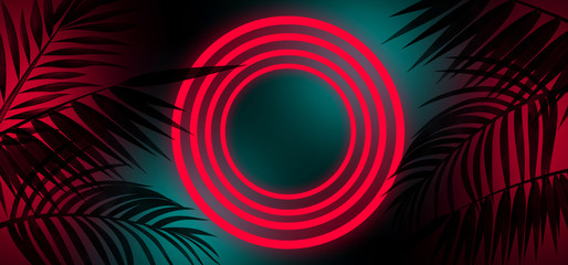 Background with neon and tropical leaves, neon lamps, circle, wall background, silhouettes of leaves, night view