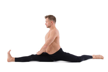 Stretching. Yoga and attractive man.