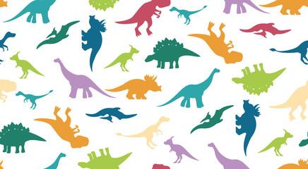Colorful dinosaurus pattern on white