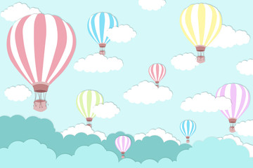 Pink balloon on bright blue sky background - Balloon artwork for International balloon festival - illustration
