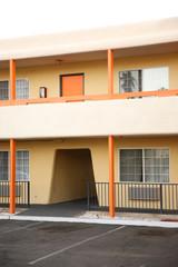 Orange building in Palm Springs.