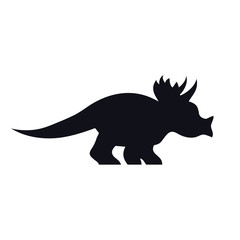 Triceratops black silhouette on white