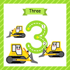 Cute children Flashcard number three tracing with 3 Bulldozers for kids learning to count and to write.