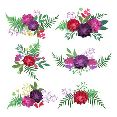 Floral set. Collection with flowers hand drawn. Design for invit