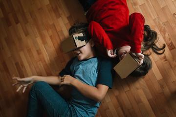 Children using VR glasses