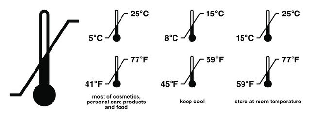 Obraz Storage temperature range symbol. Black thermometer icon with diagonal line and degrees sign value. Some standard versions and legend included. - fototapety do salonu