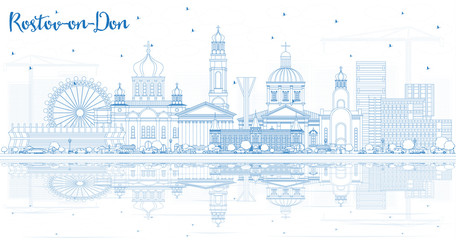 Outline Rostov-on-Don Russia City Skyline with Blue Buildings and Reflections.