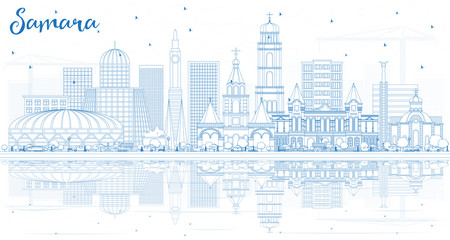 Outline Samara Russia City Skyline with Blue Buildings and Reflections.