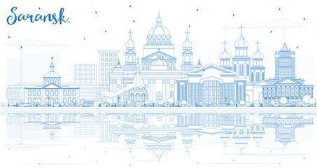 Outline Saransk Russia City Skyline with Blue Buildings and Reflections.