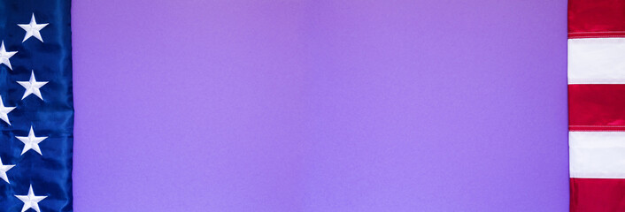 Sheet of purple paper with flag of the USA