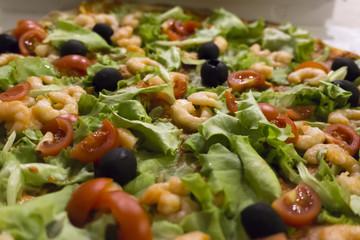 pizza con gamberetti e olive