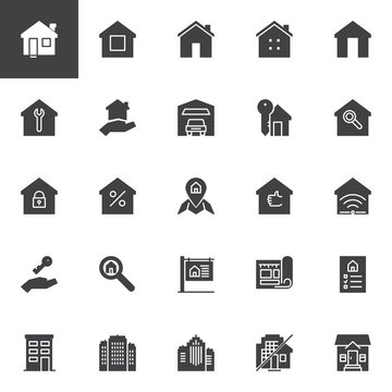 Real estate vector icons set, modern solid symbol collection, filled style pictogram pack. Signs, logo illustration. Set includes icons as House, Home, Office buildings, Mortgage, Blueprint, For sale