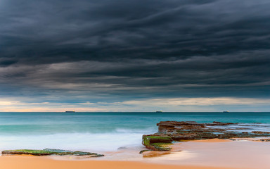 Ships on the Horizon - Cloudy Morning Seascape