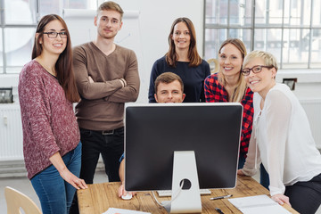 Successful motivated young business team