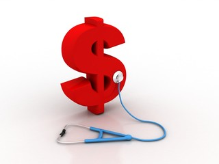3d rendering Dollar symbol with stethoscope