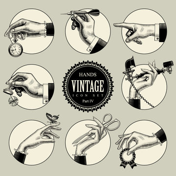 Set of round icons in vintage engraving style with hands and accessories