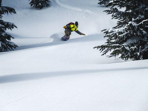 Backcountry Snowboarding Background Pow Turn Trail