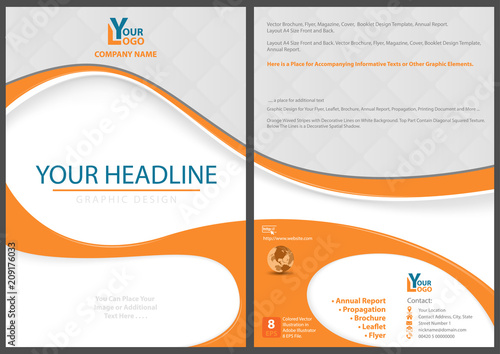 Flyer Template With Abstract Orange Shapes Graphics