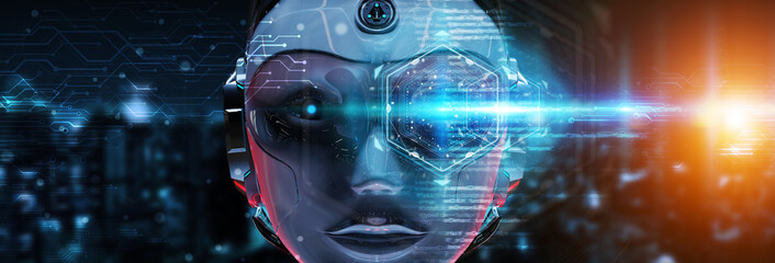 Cyborg head using artificial intelligence to create digital interface 3D rendering