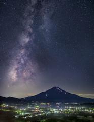高指山より望む富士山と天の川