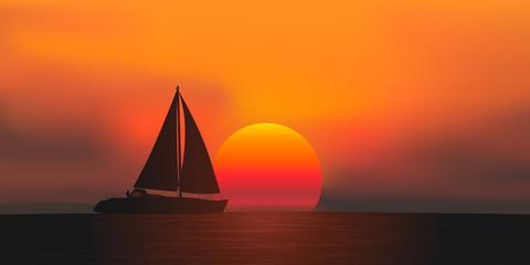 voilier - coucher de soleil - bateau à voile - plaisance - croisière - mer