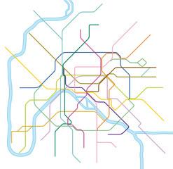 colored metro vector map of Paris