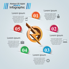Lightning paper origami business infographic. Vector eps 10.